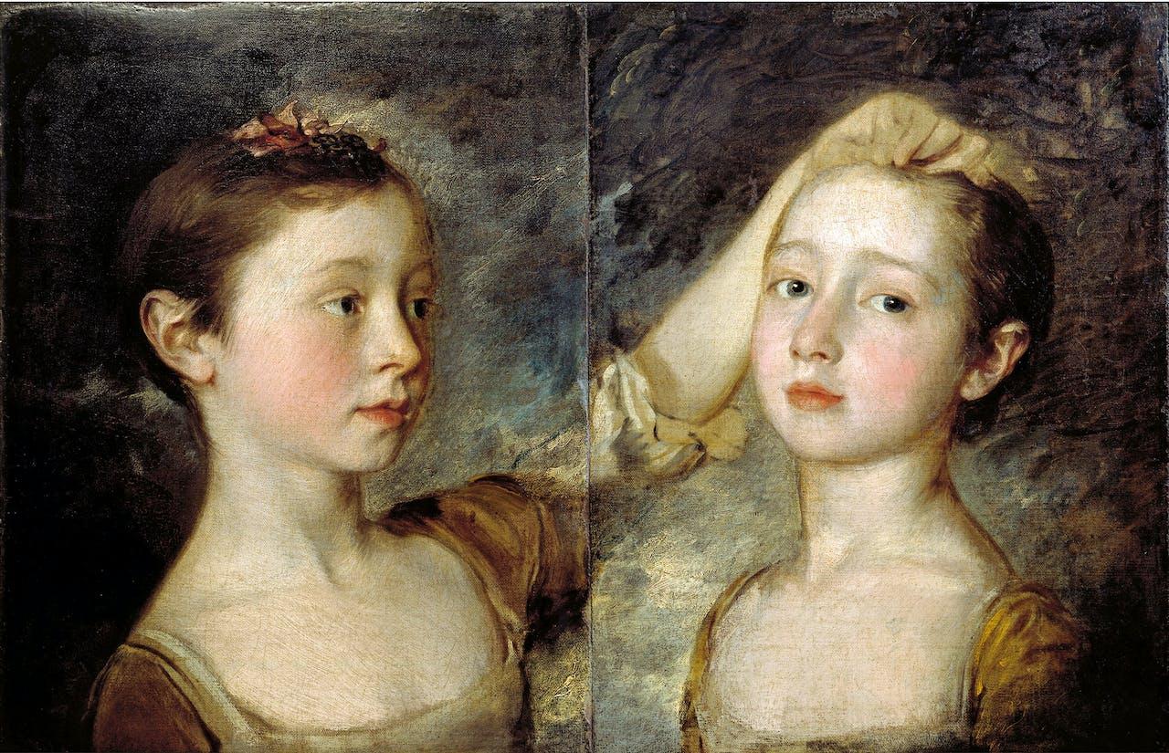 Het dubbelportret van Gainsboroughs dochters (ca. 1758) is lang gescheiden geweest. In de 19de eeuw zijn ze herenigd.