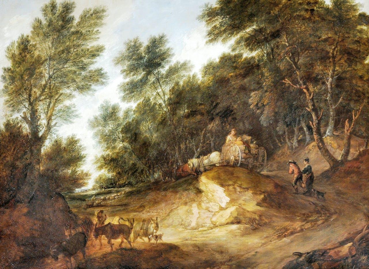 'Bebost landschap', ca. 1783. Een van Gainsboroughs 'little Dutch landskips', hoewel hij nooit in Nederland was geweest.