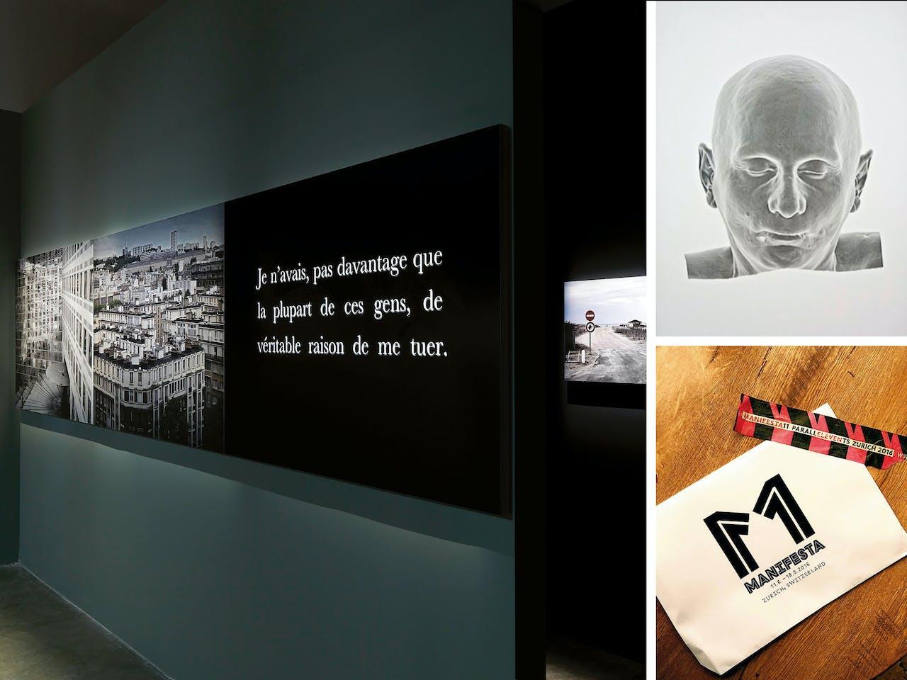 Links: De Parijse expositie, nog tot 11 september te zien, heeft een donkere en een lichte kant. Rechts: Net als in veel van zijn romans gaat de kunst ván Michel Houellebecq ook óver Michel Houellebecq.