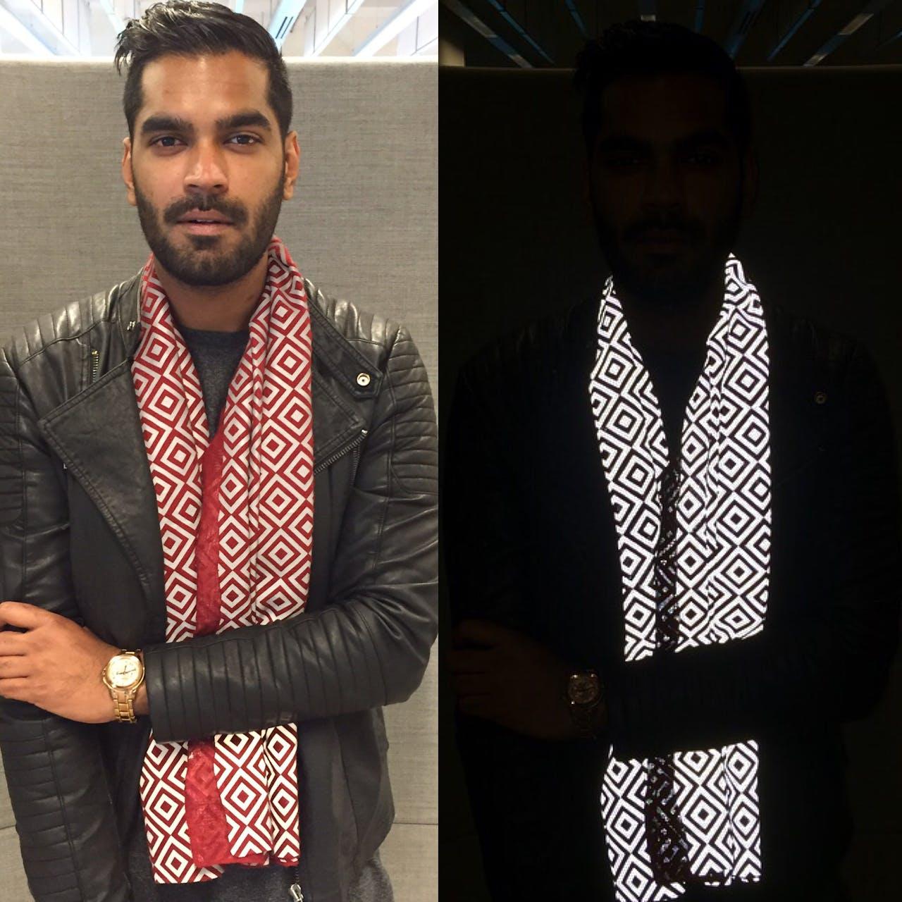 Saif Siddiqui (hier zelf op de foto) bedacht de reflecterende sjaal.