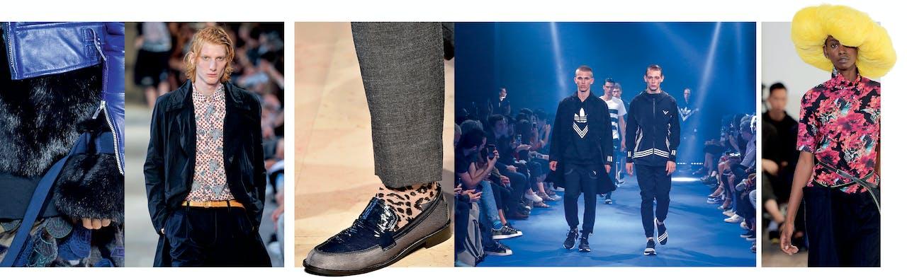 Links: beelden uit de herfst/winter-collectie 2016 van Kolor. Midden: de lente/zomercollectie 2017 van White Mountaineering in samenwerking met Adidas. Rechts: postmoderne street-wear, zo zou je de ontwerpen van Facetasm kunnen noemen.