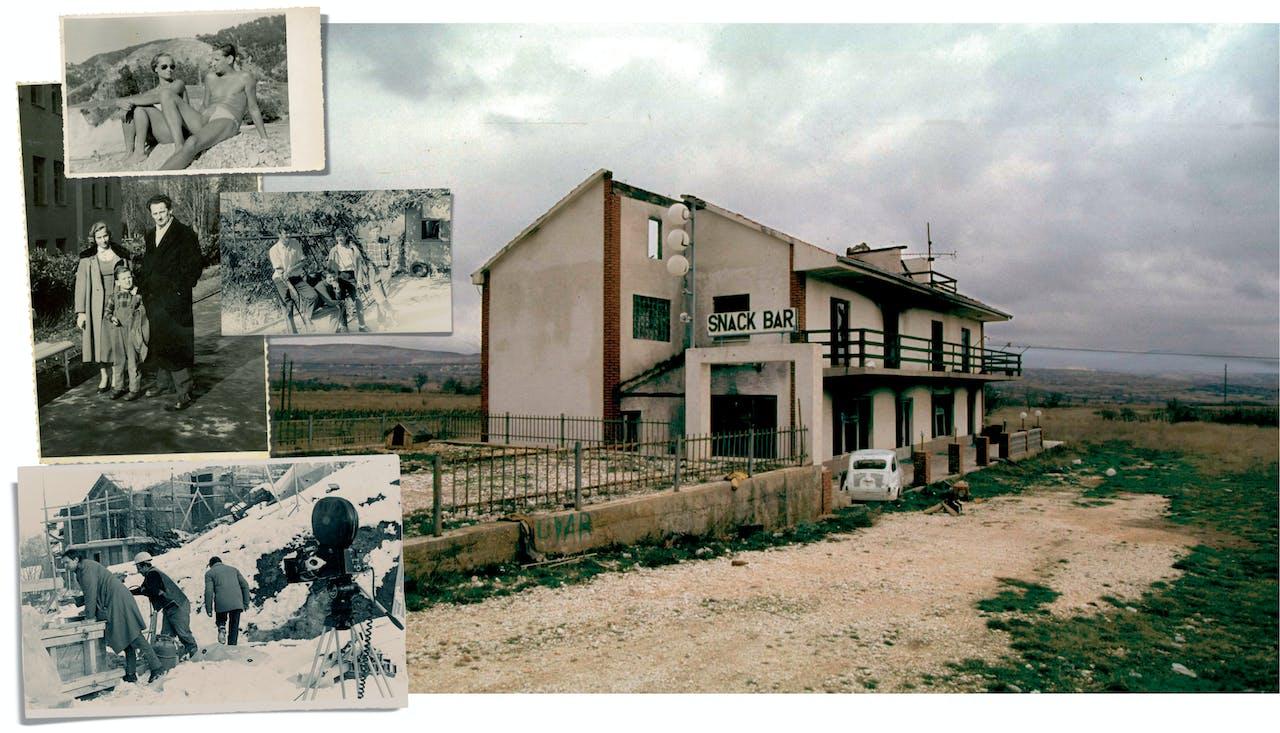 Links: Vuk met zijn ouders. Vader en moeder op het strand. Als middelbare scholier met jeugdvrienden. Vuk (links) aan het werk op de filmset van 'Zivi Transport'. Rechts: een snackbar in de Krajina, 1996. Zoals zo veel andere panden verlaten na het Kroatisch offensief in de streek.