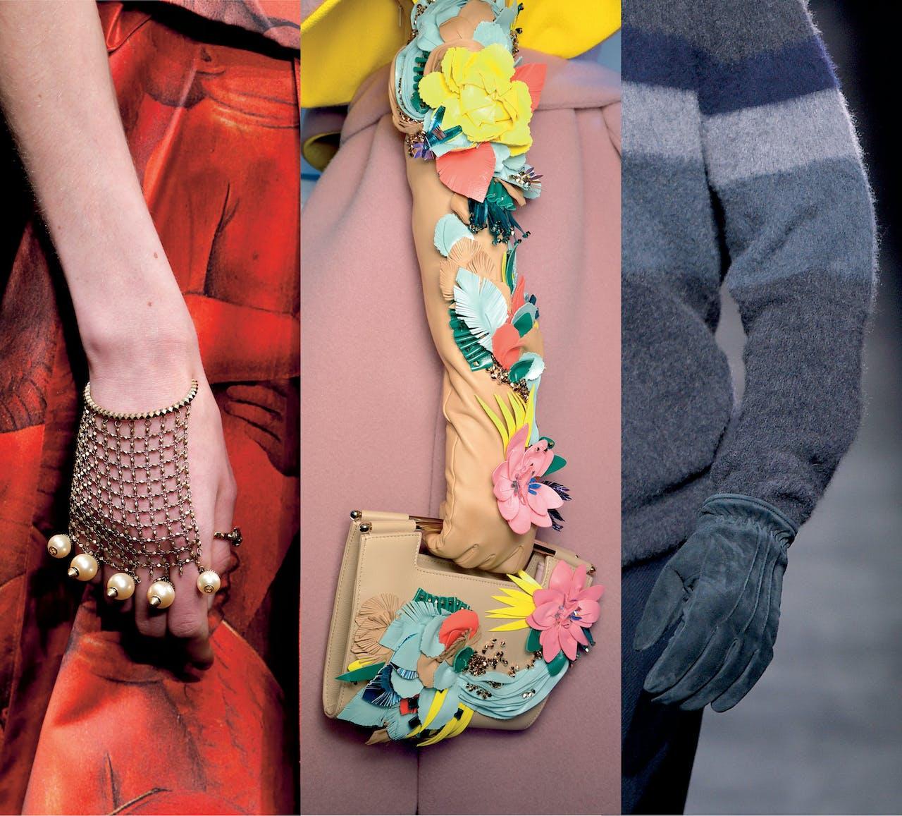 Van links naar rechts: handschoenen op de catwalk van dit seizoen bij Gucci, Delpozo en Brioni.