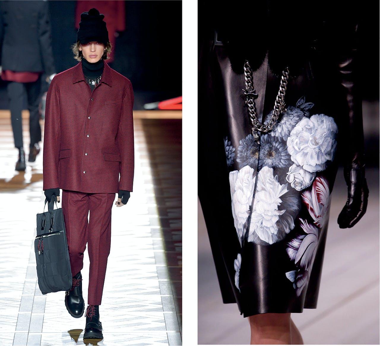 Uit de herfst-wintercollectie 2016 van Dior. Rechts: najaar bij Alexander McQueen.