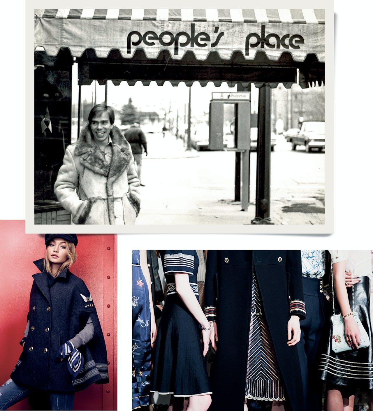 Hilfiger onder de luifel van zijn eerste winkel, People's Place; rechtsonder: marineblauwe jas uit de najaarscollectie; linksonder: model Gigi Hadid.