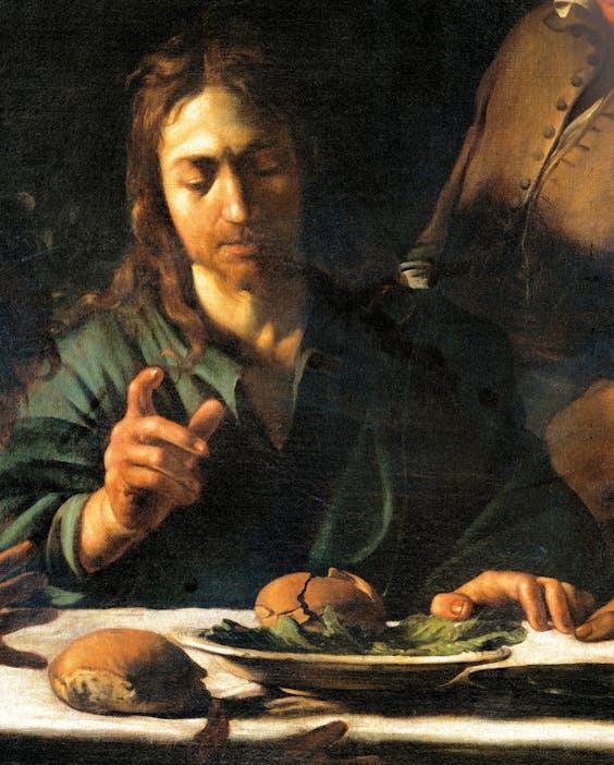 Detail uit 'Avondmaal in Emmaüs', van Caravaggio, uit 1901.