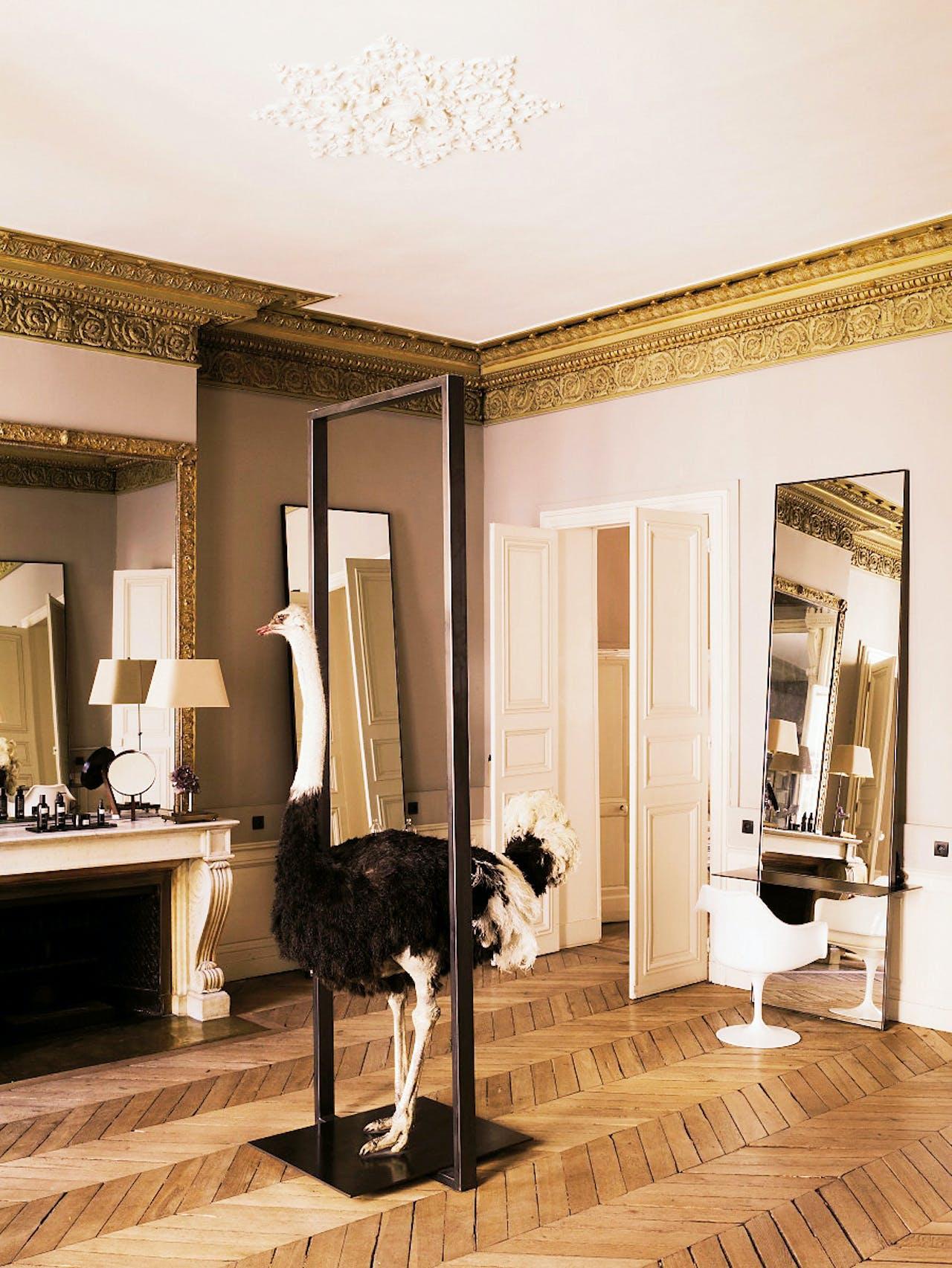 De salon van David Mallett in Parijs.