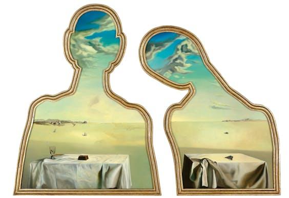 'Couple aux têtes pleines de nuages' (Een paar met het hoofd vol wolken), uit 1936, is het belangrijkste werk van Dalí in Museum Boijmans.