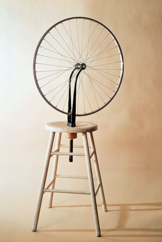 Derde versie van het fietswiel, readymade van Marcel Duchamp, uit 1951.