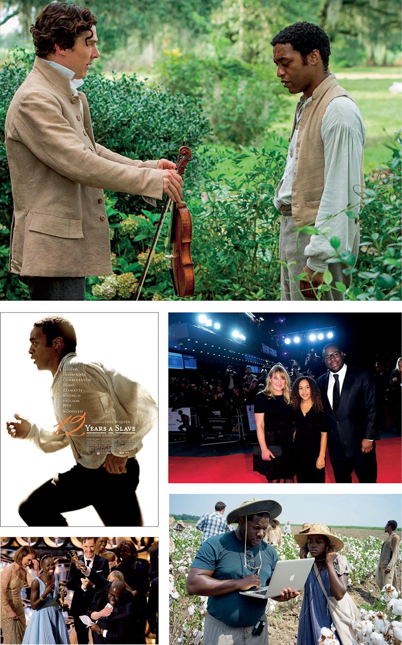Scene uit '12 Years a Slave' met Benedict Cumberbatch en Chiwetel Ejiofor; onder: op de premiere met zijn vrouw, Bianca Stigter, en dochter Alex; daaronder: op de set met actrice Lupita Nyong'o; links: euforie heerst bij het winnen van de Oscar voor Beste Film.