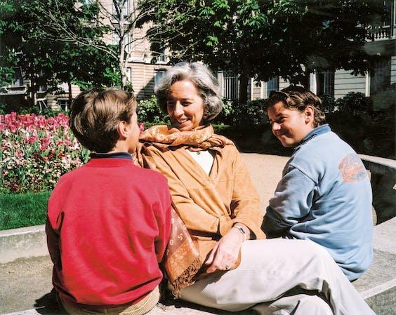 Lagarde met haar kinderen, Tom en Pete. (Foto: Getty Images)
