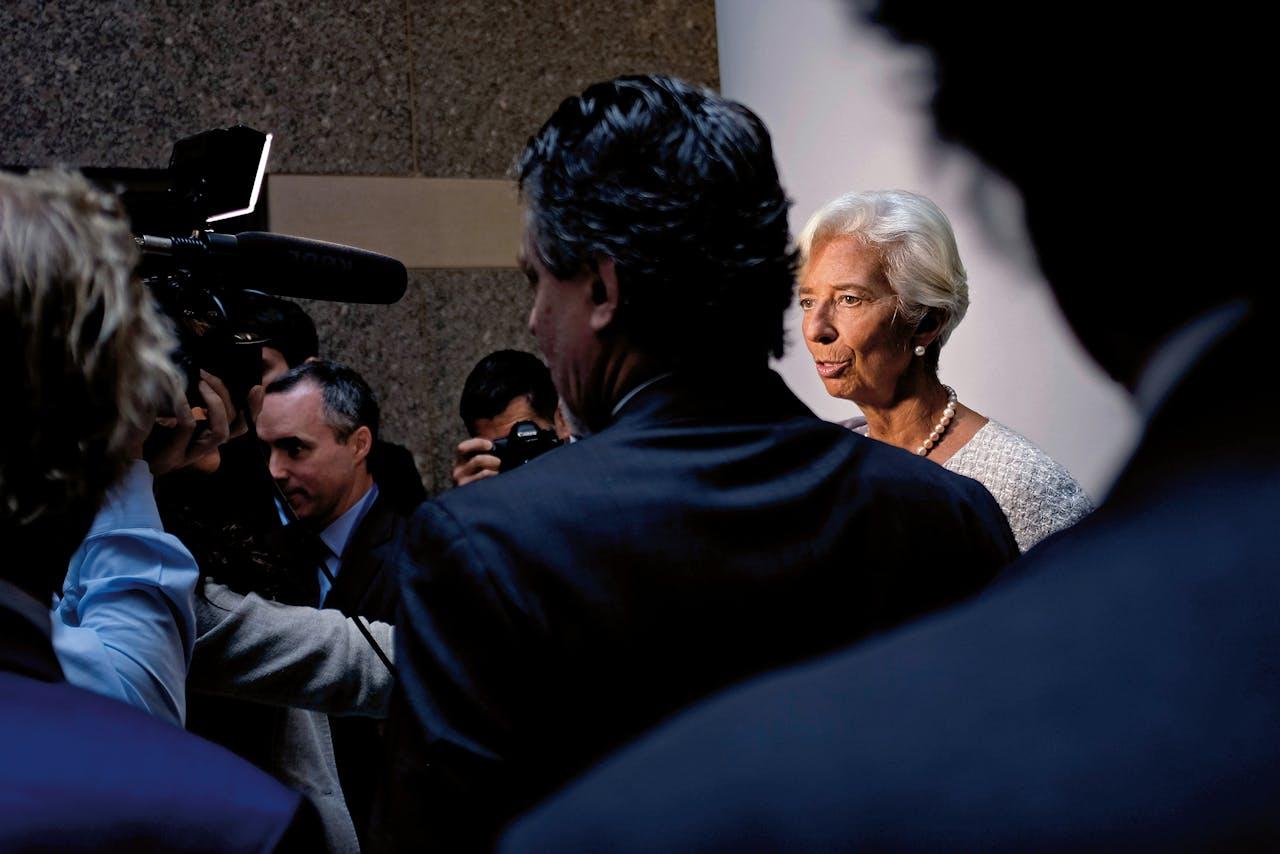 Christine Lagarde spreekt met journalisten op de jaarlijkse bijeenkomst van het IMF in Washington, op 8oktober dit jaar. (Foto: Reuters)