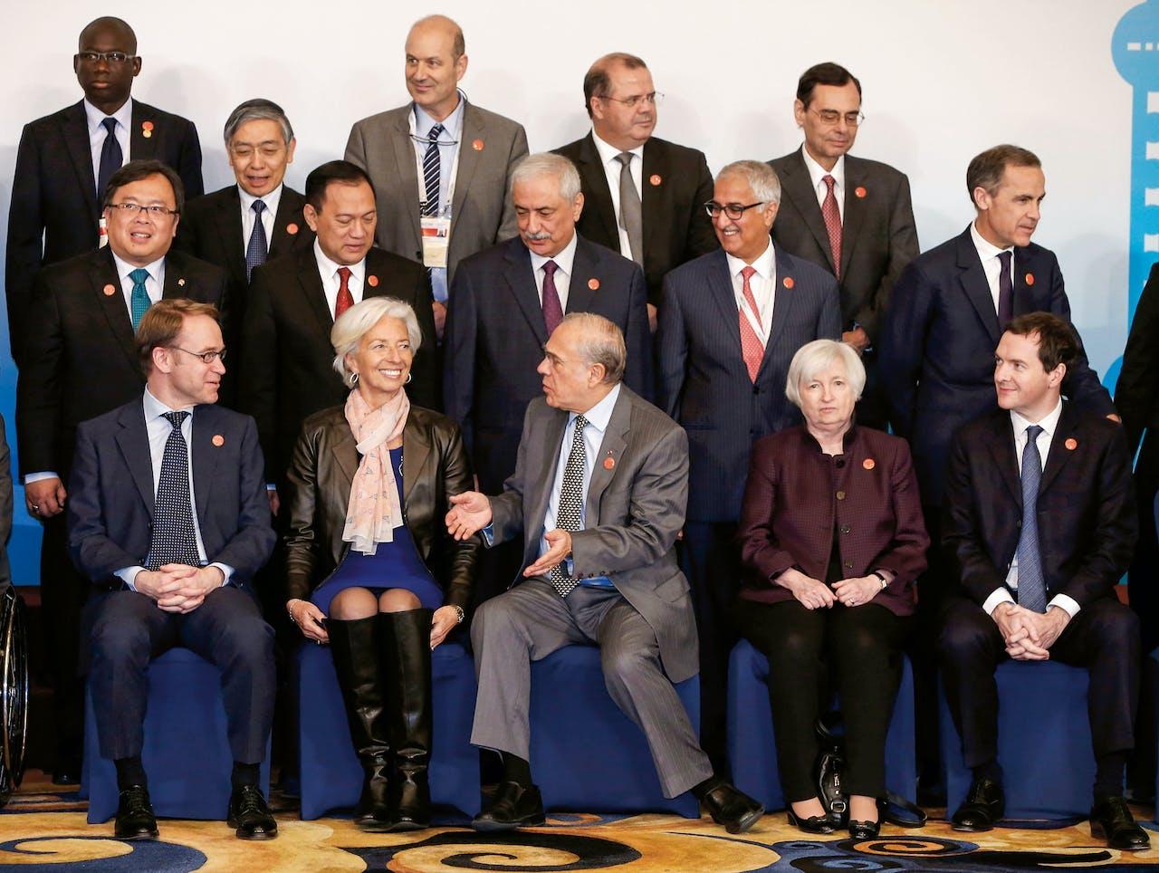Waar ze komt, maakt Lagarde indruk, hier bij een G20-meeting in China, rechts Janet Yellen (Fed). (Foto: Hollandse Hoogte)