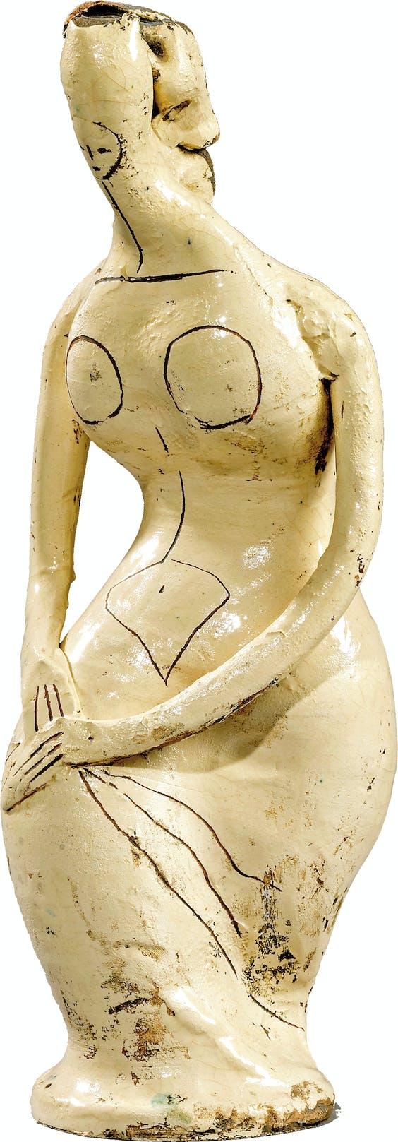 'Tanagra met gevouwen handen op de rechterknie', 1947. 'Tanagra' slaat op keramiek uit de oudheid die in de 19de eeuw bij de Griekse stad Tanagra werd opgegraven.