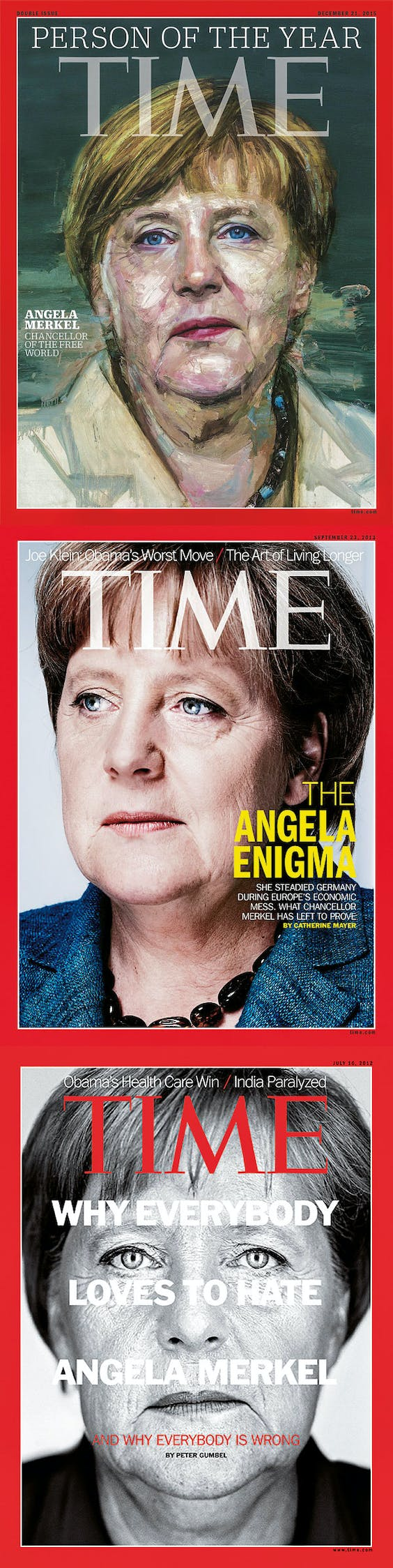 Van boven naar beneden: Time, Person of the Year, 2015; Time 2013; Time 2012.