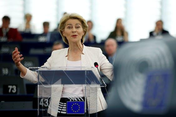 Ursula von der Leyen overtuigt een meerderheid van het Europees Parlement.