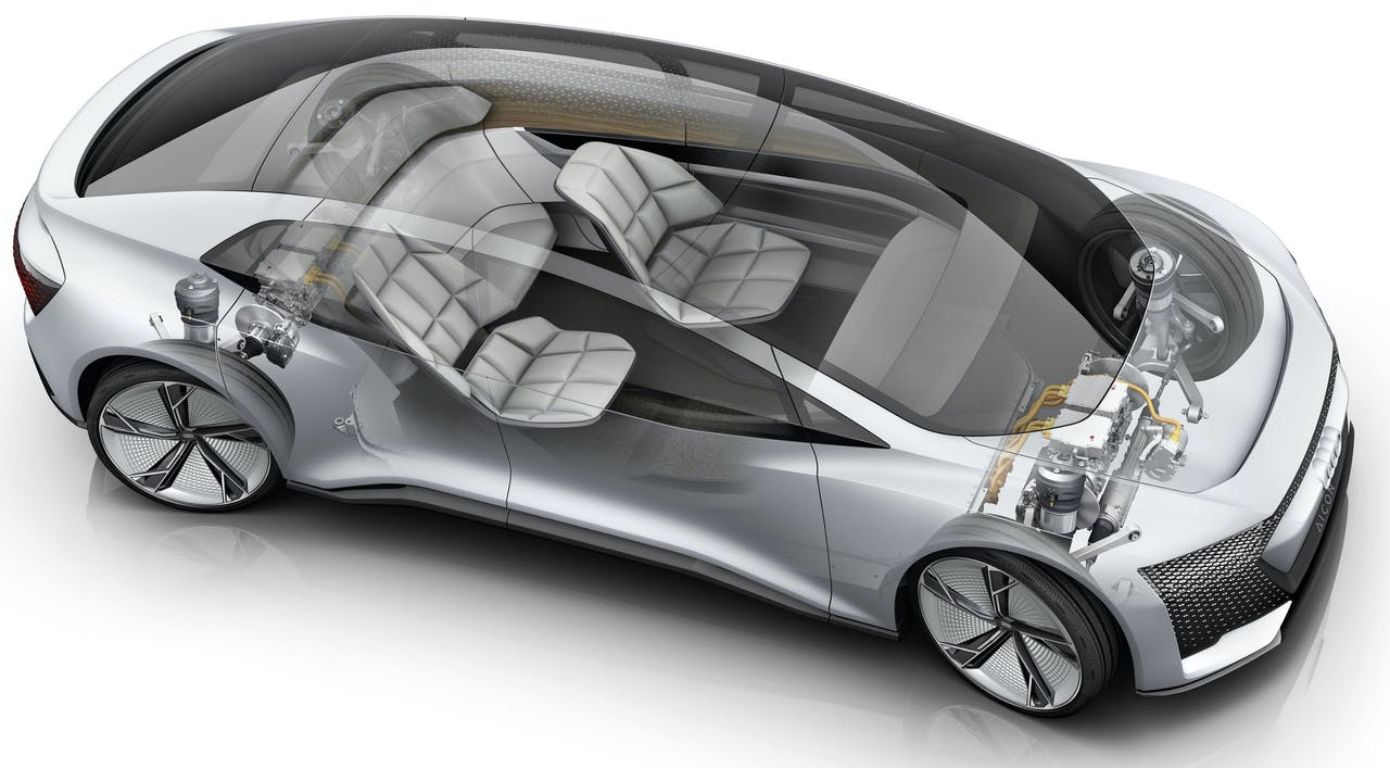 Passagiers van de zelfrijdende Audi Aicon bedienen functies straks niet met hun vingers, maar door tegen de auto te praten.