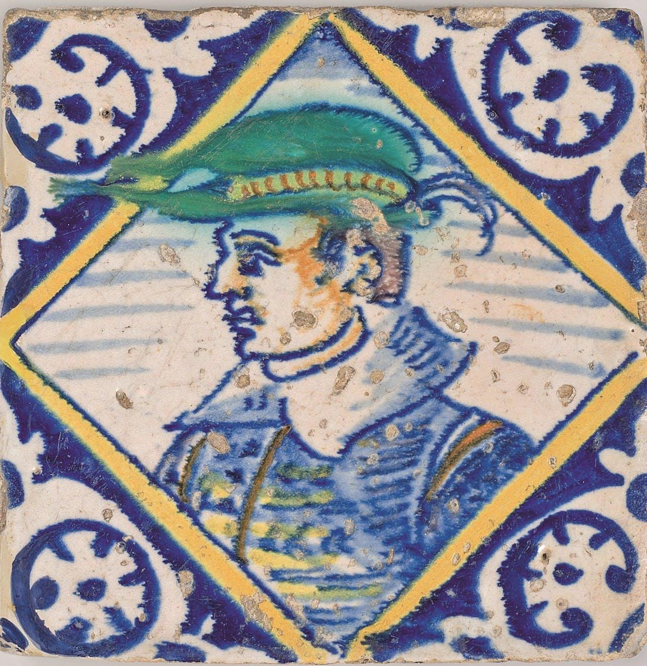 Portret in kwadraat, uitgespaard hoekmotief, 1600-1625.