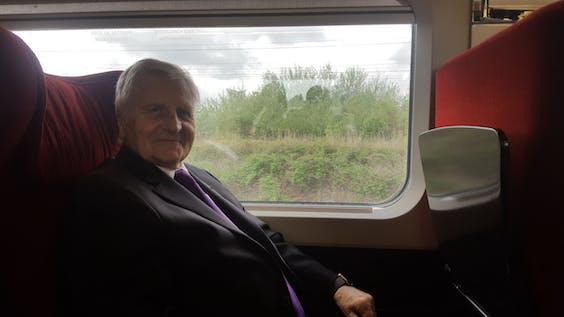 Jean-Claude Trichet op de trein.
