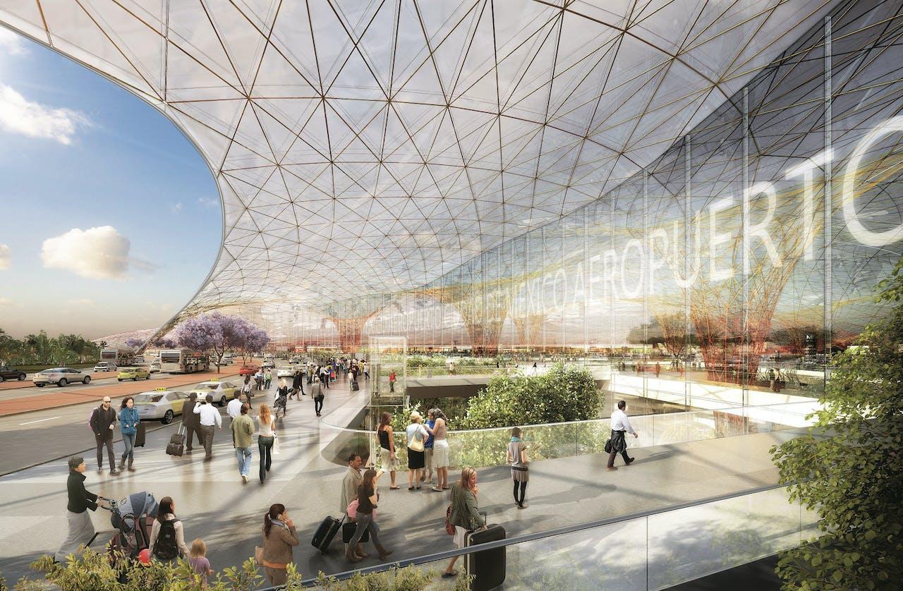 Een reusachtige overkapping moet mogelijk maken dat passagiers vanaf 2020 alles te voet kunnen doen op de nieuwe luchthaven van Mexico-Stad.