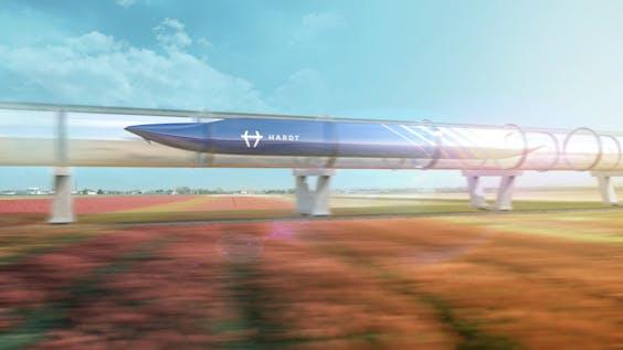 Tekening van de Hyperloop in Nederland.
