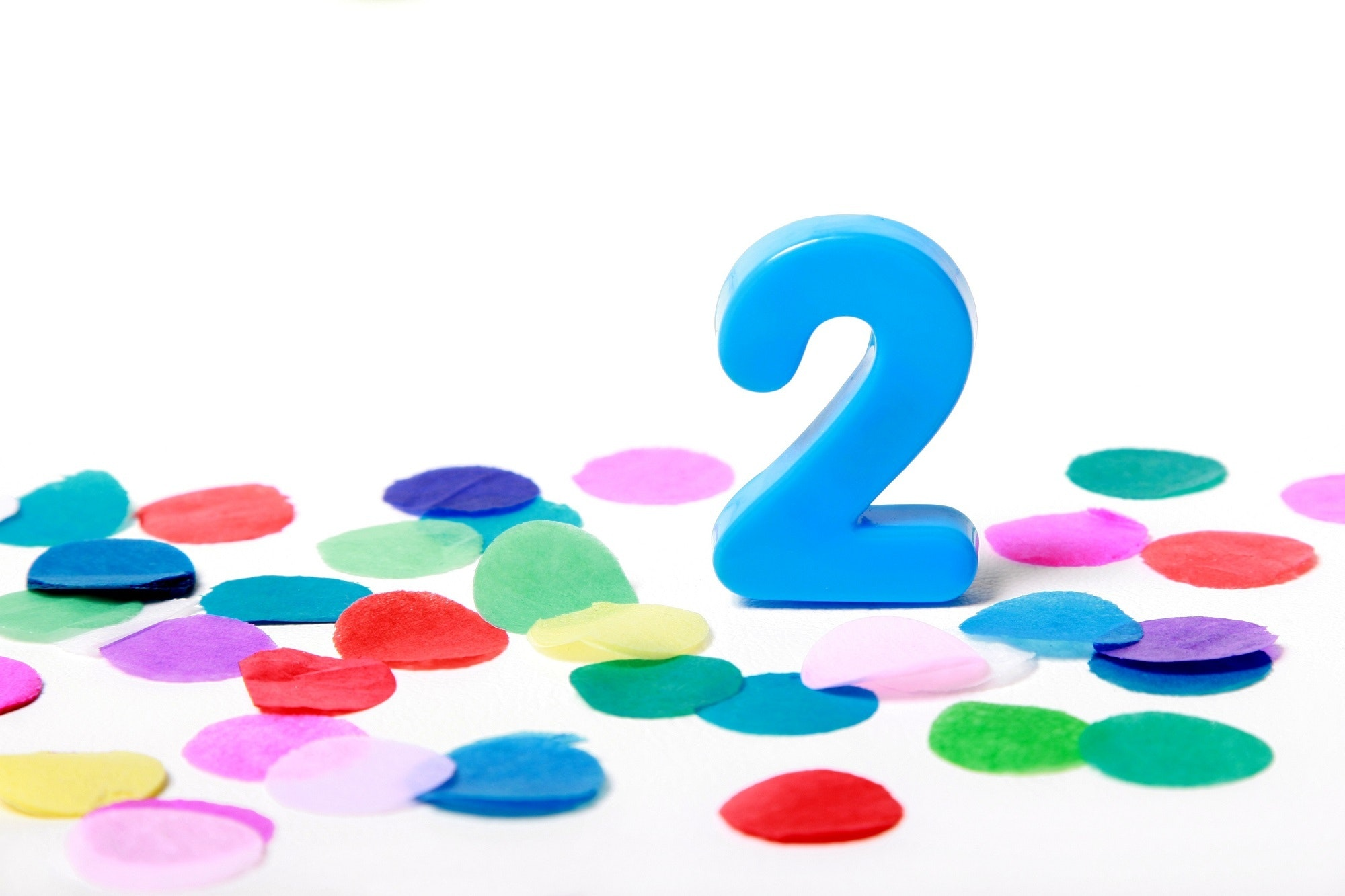 Bright blue number 2 with colourful confetti. Click to see more...