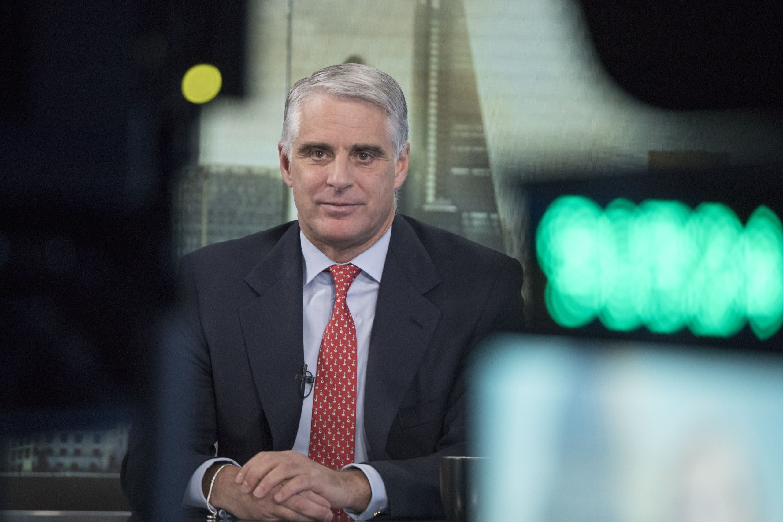 Andrea Orcel, investment bank president of UBS Group AG, pauses during a Bloomberg Television interview in London, U.K., on Friday, Dec. 8, 2017. Orcel, the head ofUBS Group AG's investment bank, said he expects 2018 to be another challenging year for securities firms as the low volatility that has eroded trading income and fees persist. Photographer: Jason Alden/Bloomberg