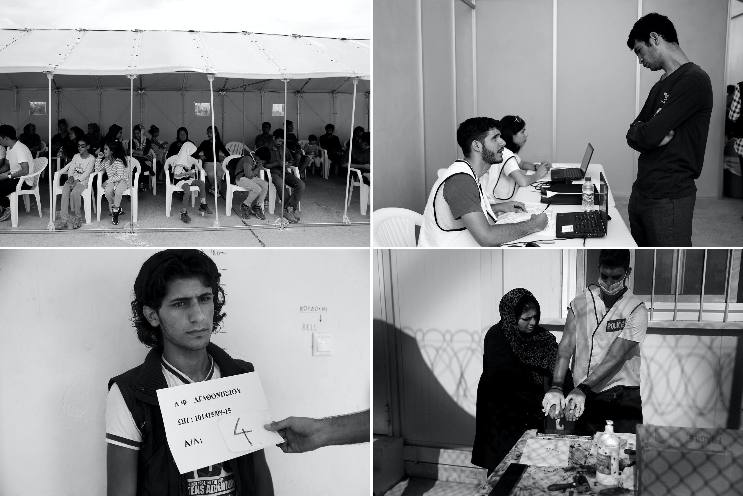 Linksboven: vluchtelingen en migranten wachten op een intake in de gebouwen van de niet meer gebruikte Hellenikon-luchthaven in Athene (2016). Rechtsboven: een personeelslid van de Hoge Commissaris voor Vluchtelingen (UNHCR) spreekt met een migrant tijdens een preregistratieproces dat toegang geeft tot de asielprocedure. Linksonder: Een Syrische vluchteling wordt gefotografeerd op een basis van de Griekse kustwacht (2015). Rechtsonder: afnemen van vingerafdrukken op Lesbos.