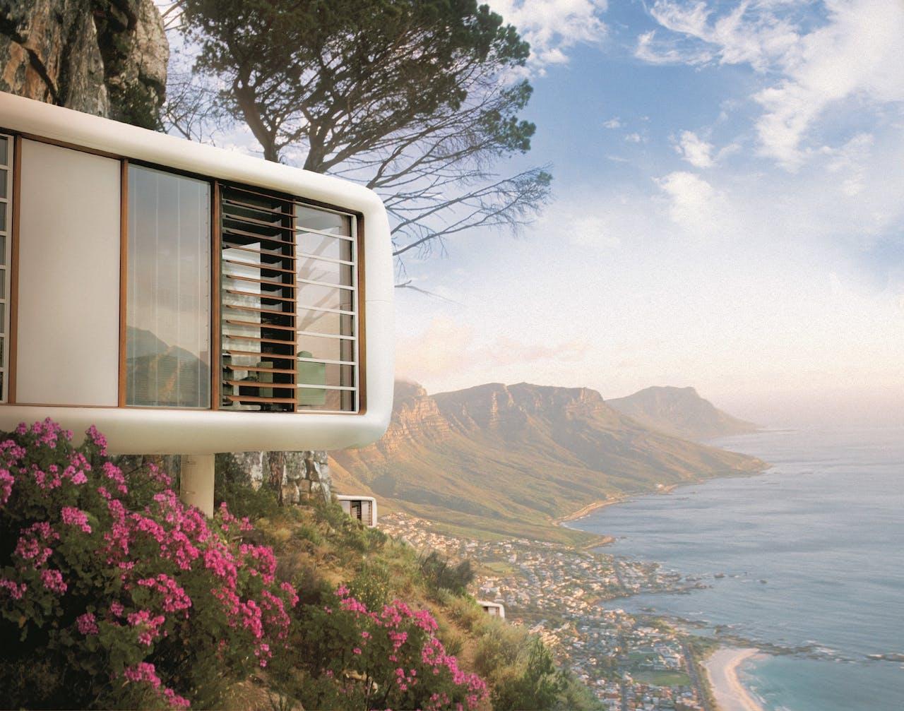 De Loft Cube kan overal worden neergezet. Zoals hier op een helling in Kaapstad.