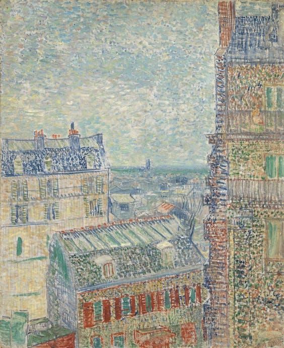 'Gezicht vanuit Theo's appartement', Vincent van Gogh, 1877; onder: 54, Rue Lepic.