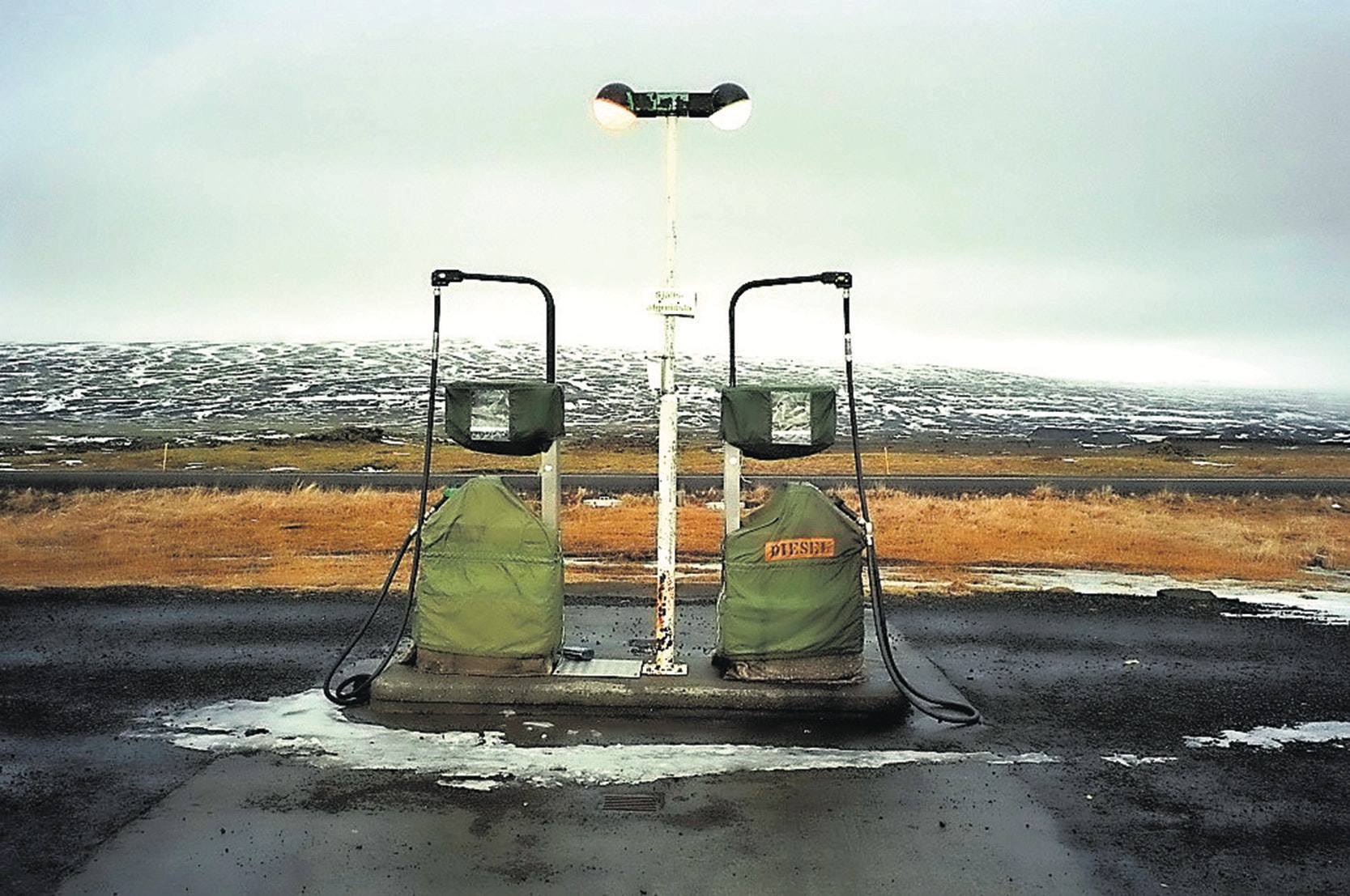 Iceland, Sudurland Region, Hrauneyjar, last gas station before the track of Sprengisandur which crosses Iceland from south to north