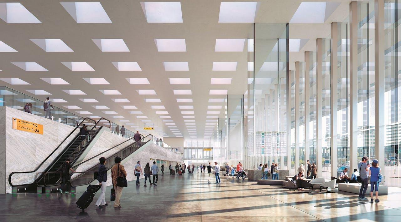 Daglicht en ruimte: Schiphol opent in 2023 een nieuwe terminal, ontworpen door Kaan Architecten.