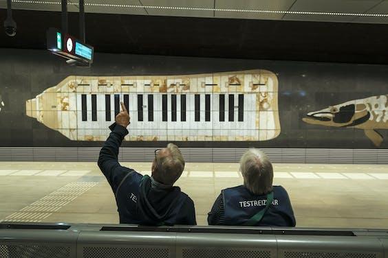 Testreizigers, eerder dit jaar op het metrostation Europaplein.