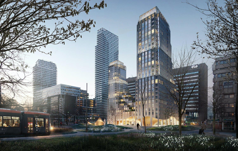 Impressie van het nieuwe gebouw op het Koningin Julianaplein in Den Haag bij het Centraal Station.