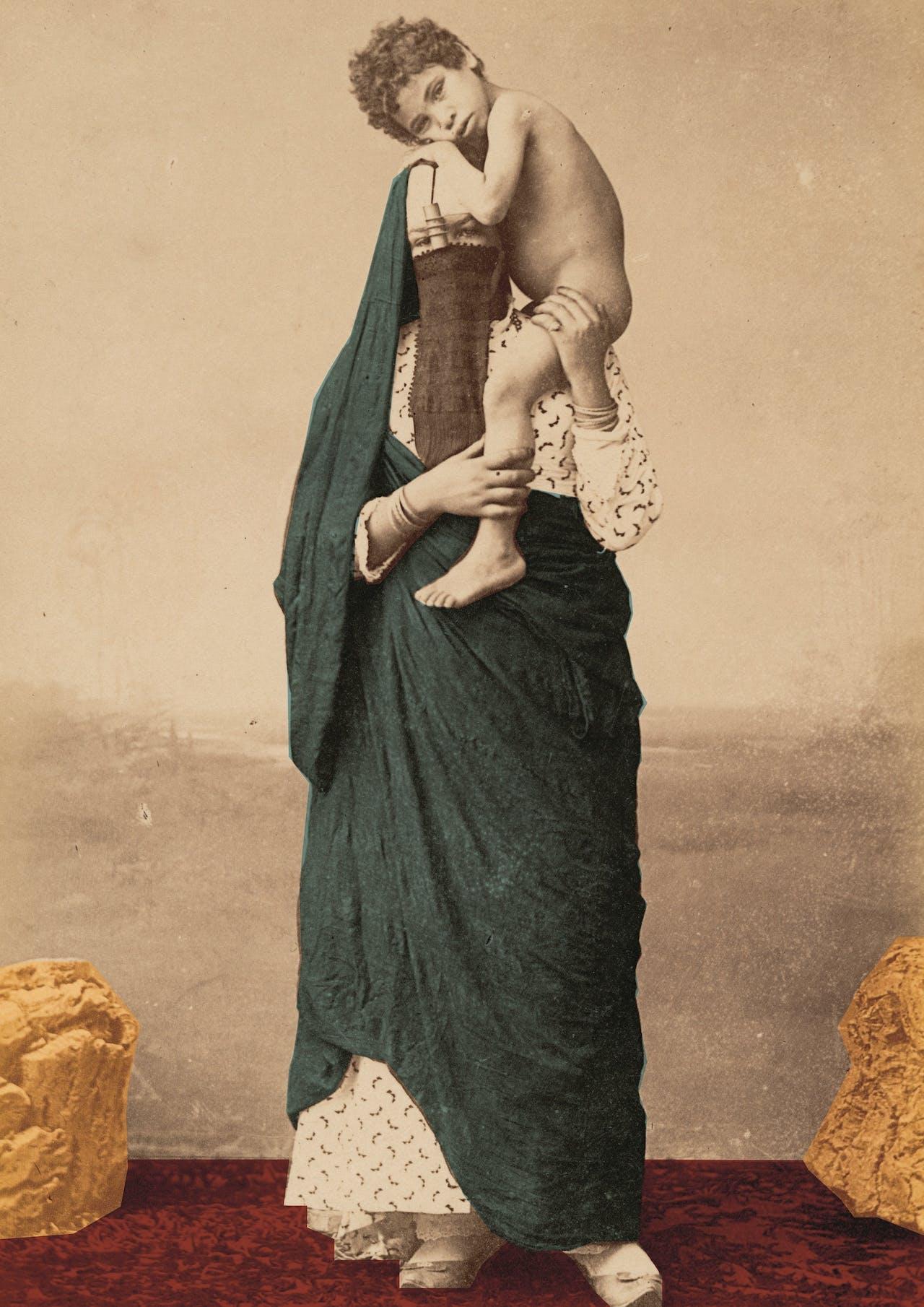 'Femme fellah – Muslim Mary.' Egyptische vrouw met kind, 1870-1890.