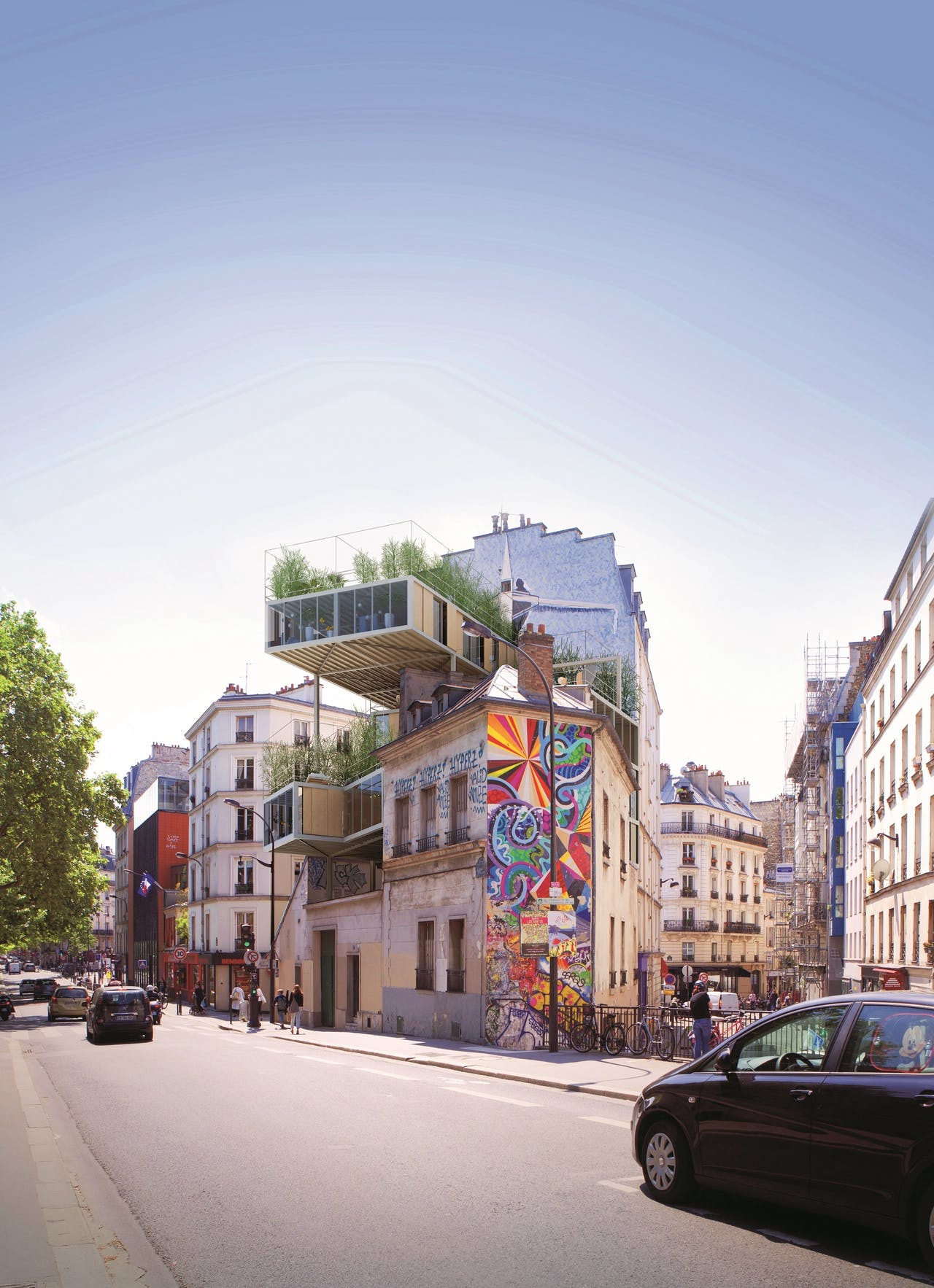 Architect Stephane Malka bouwde in Parijs nieuwe woningunits over bestaande huizen.