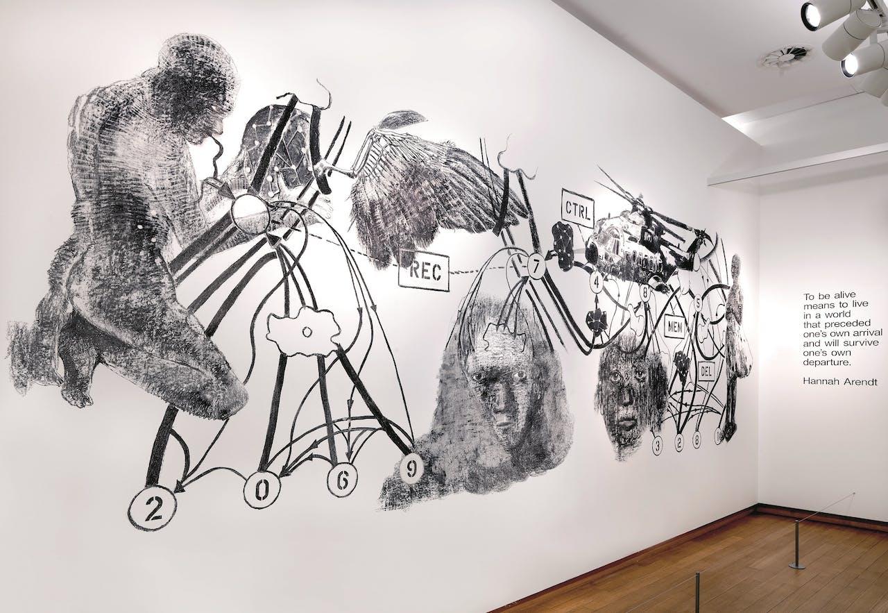 'City of Desires', een muurtekening van Nalini Malani, zal op de laatste dag van de tentoonstelling in Amsterdam worden uitgewist.
