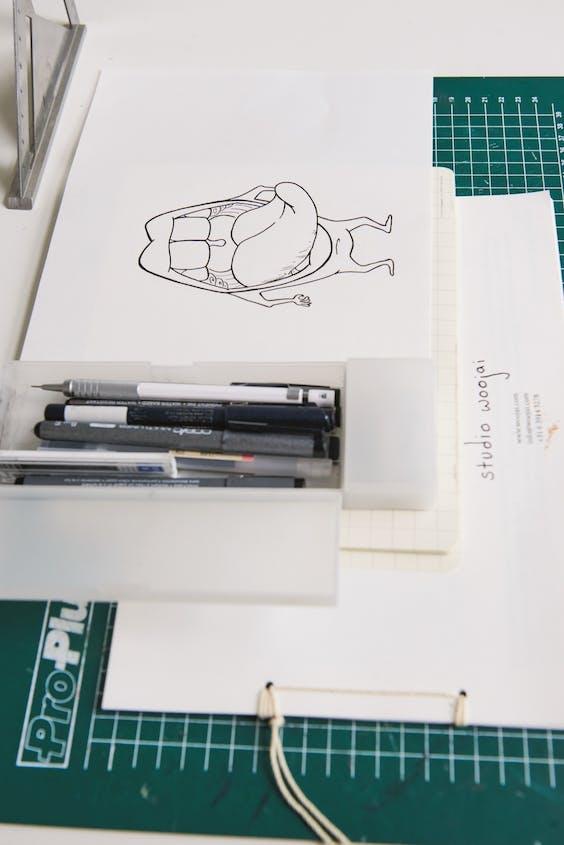 Een van de 'doodles', losse schetsjes, van WooJai Lee.